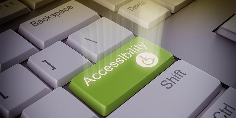A keyboard flashing an accessibility key.
