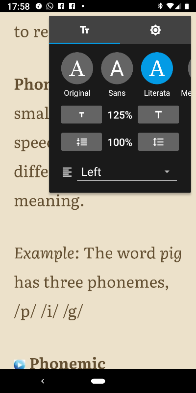 A screenshot shows the Google Play Books app in sepia mode.