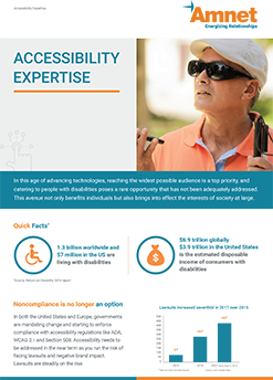 """A brochure titled """"Accessibility Expertise"""" shows a visually impaired man along with some statistics"""